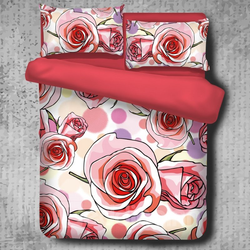 Orange Roses Blooming Pattern High Thread Count 4-Piece Polyester Bedding Sets/Duvet Cover