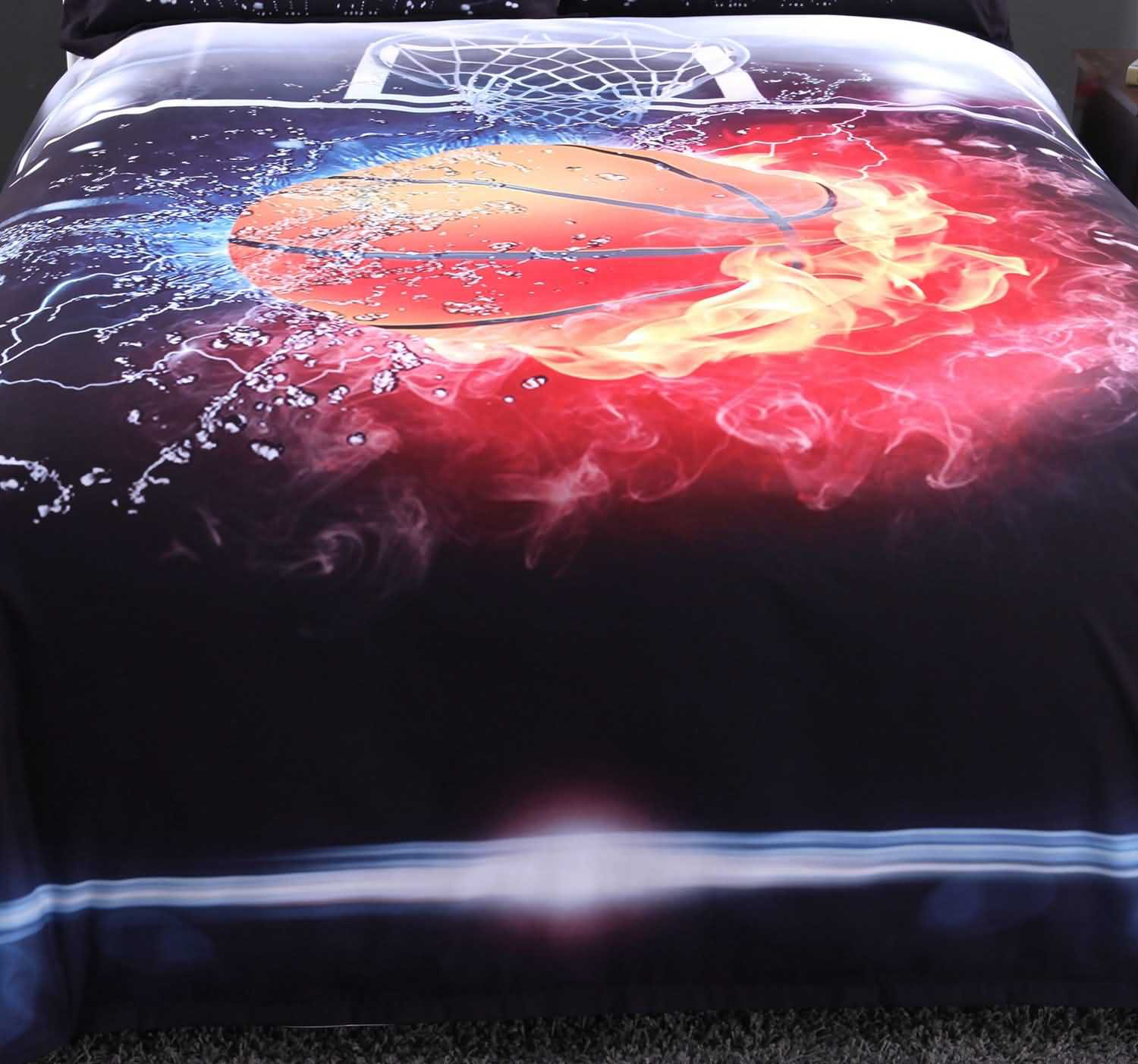 Onlwe 3D Basketball Ball in Fire and Water Printed 5-Piece Comforter Sets