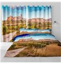 3D Outstanding Old Buildings and Yellow Grassland Printed Custom Polyester Window Curtain