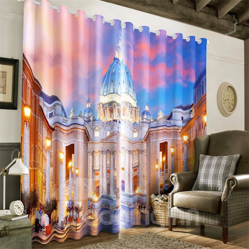 Resplendent Castles Printed Human Masterpiece Scenery 2 Panels Living Room Curtain