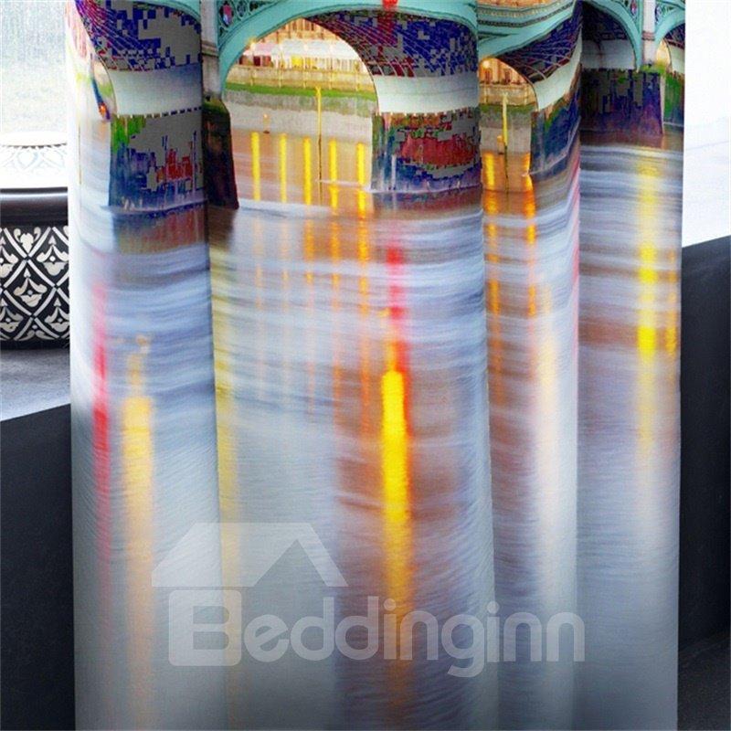 3D Big Ben in Night Printed English Buildings 2 Panels Custom Living Room Curtain