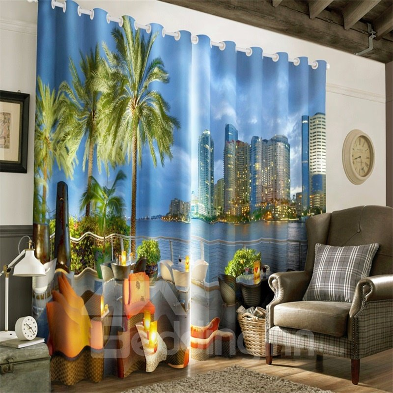 3D Leisure and Modern Vocation Place Summer Night Scenery Custom Living Room Curtain