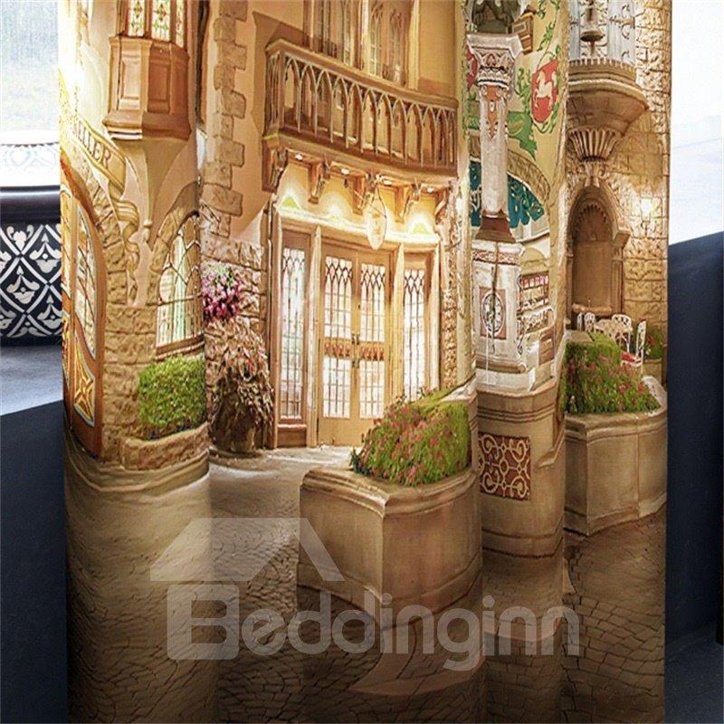 Majestic Churches Printed Night Scenery 2 Panels Custom Living Room 3D Curtain
