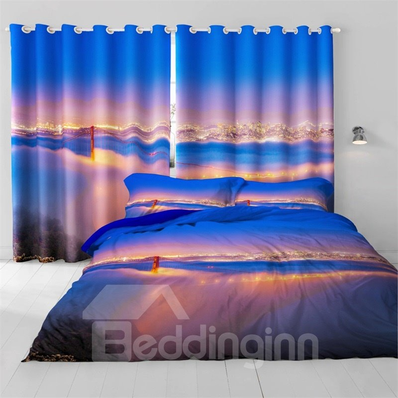 3D Night City Scenery Top View Printed Modern Style Polyester Custom Curtain