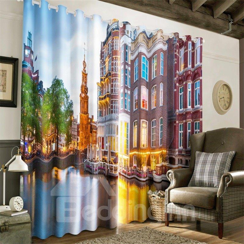 3D Modern City in the Water Printed 2 Panels Custom Grommet Top Curtain