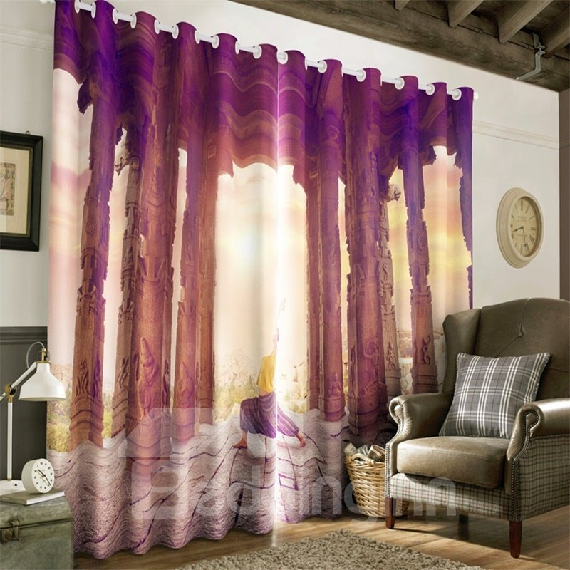 3D Old Stone Columns Printed Artificial Scenery 2 Pieces Living Room Curtain