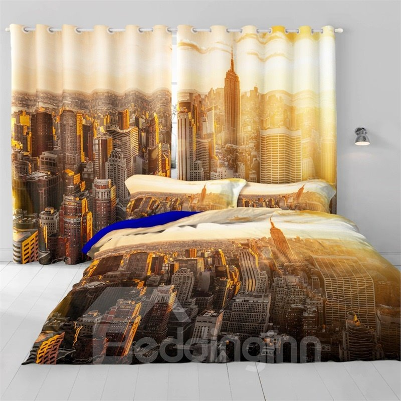 3D City Buildings Printed 2 Panels Decorative and Blackout Custom Curtain