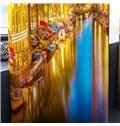 3D Peaceful Lake and Golden City Printed 2 Panels Custom Curtain for Living Room