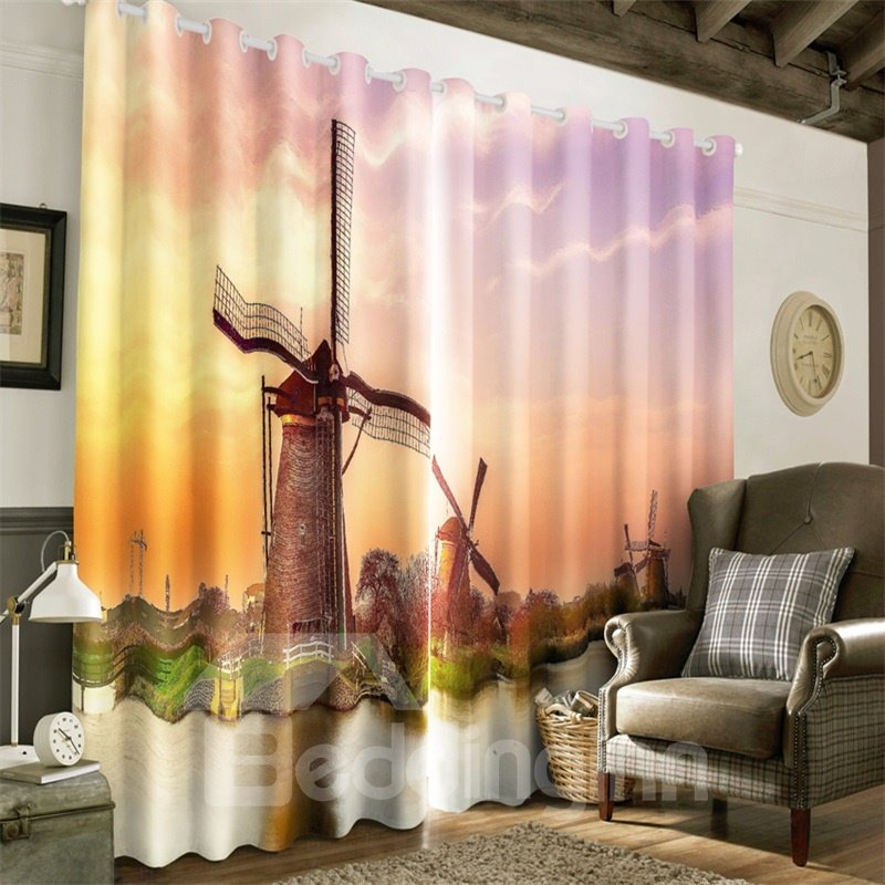 3D High Buildings Printed 2 Panels Decorative Custom Curtain for Living Room