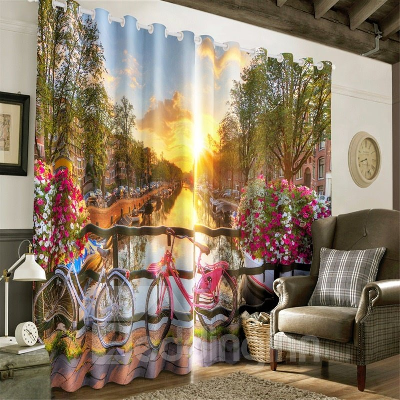 3D Bright Sunlight with Peaceful Street Printed 2 Panels Custom Living room Curtain
