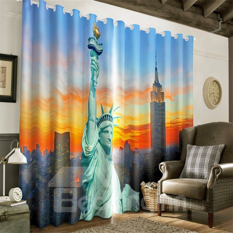 3D Grand Statue of Liberty Printed Thick Polyester Decorative Custom Curtain