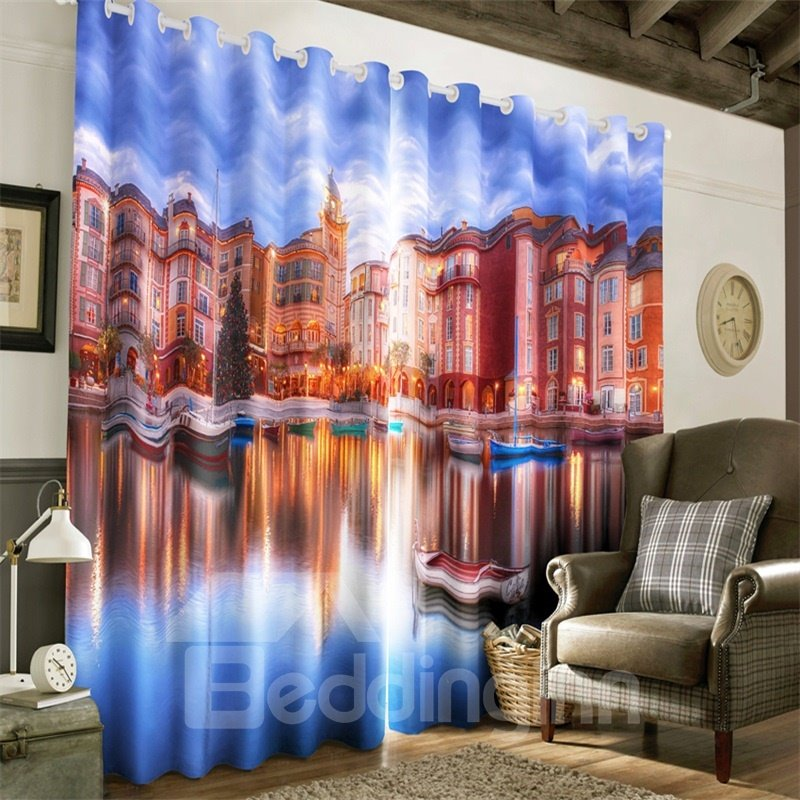 3D Majestic Buildings and Limpid Pond Printed 2 Panels Custom Living Room Curtain