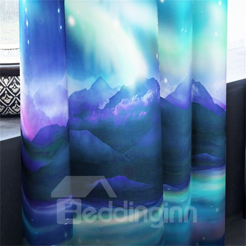 Dreamy Galaxy Printed 2 Panels Living Room and Bedroom Custom 3D Curtain