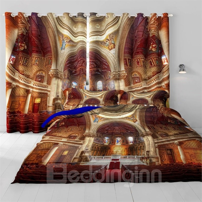 3D Grandiose Church and Artificial Statue Printed Custom Curtain for Living Room