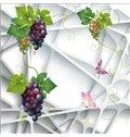 3D Grapes Irregular Geometries Printed PVC Waterproof Sturdy Eco-friendly Self-Adhesive Ceiling Murals