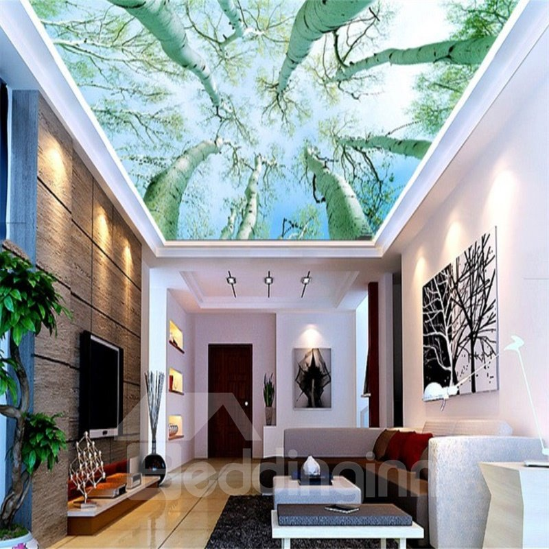 3D Tree Trunks Pattern PVC Waterproof Sturdy Eco-friendly Self-Adhesive Ceiling Murals
