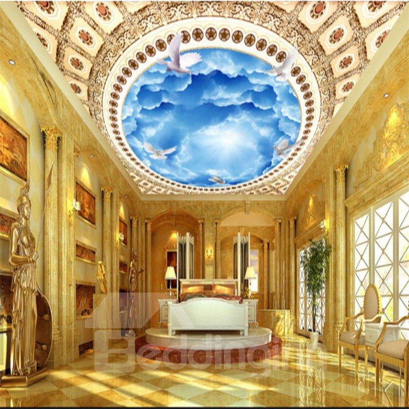 3D Blue Sky Printed PVC Waterproof Sturdy Eco-friendly Self-Adhesive Ceiling Murals
