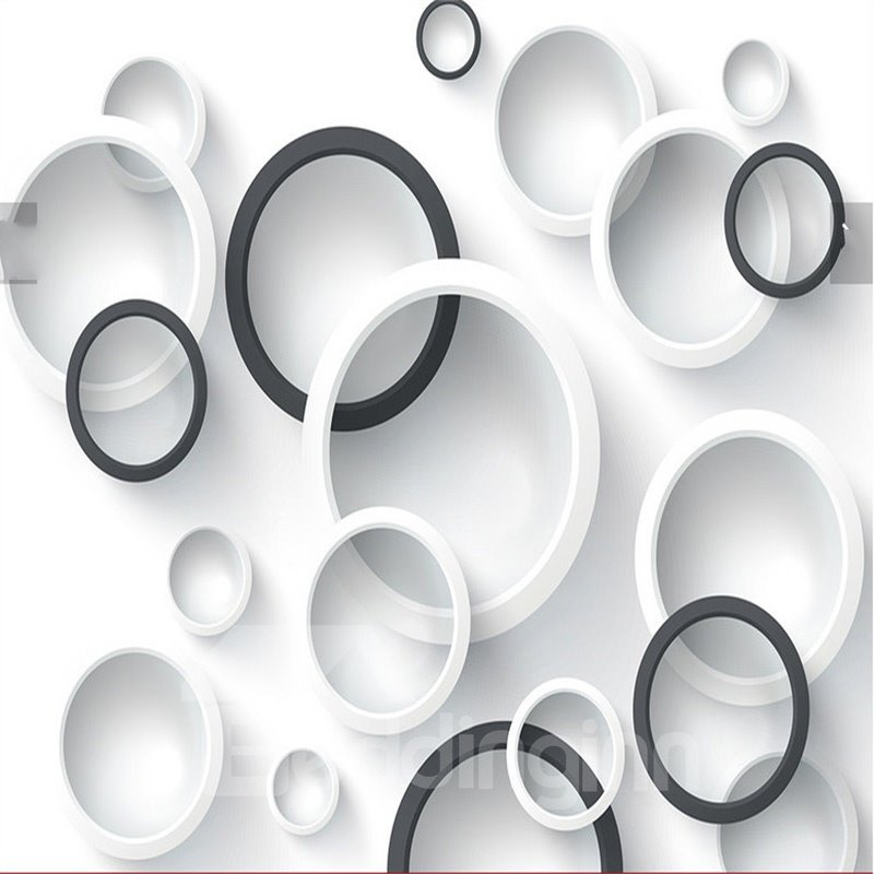 3D White Black Circles Printed PVC Waterproof Sturdy Eco-friendly Self-Adhesive Ceiling Murals