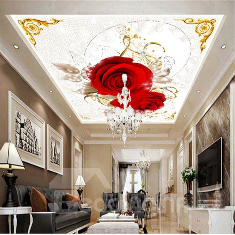 3D Red Roses Printed PVC Waterproof Sturdy Eco-friendly Self-Adhesive Ceiling Murals