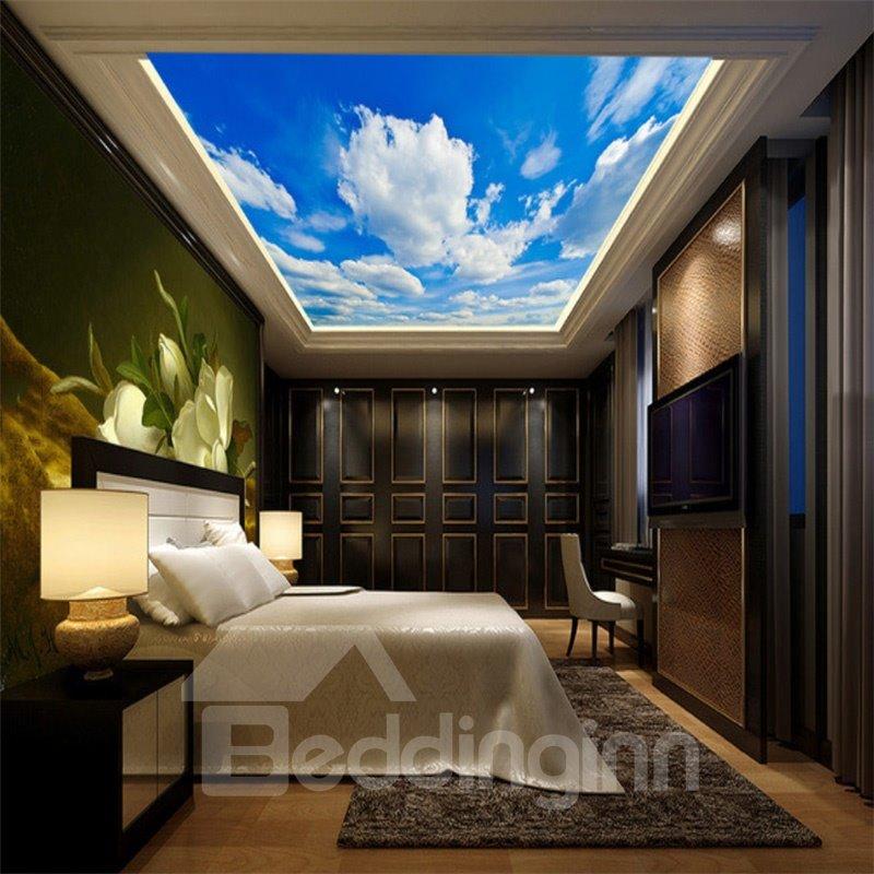 3D White Clouds in Sky Printed PVC Waterproof Sturdy Eco-friendly Self-Adhesive Ceiling Murals
