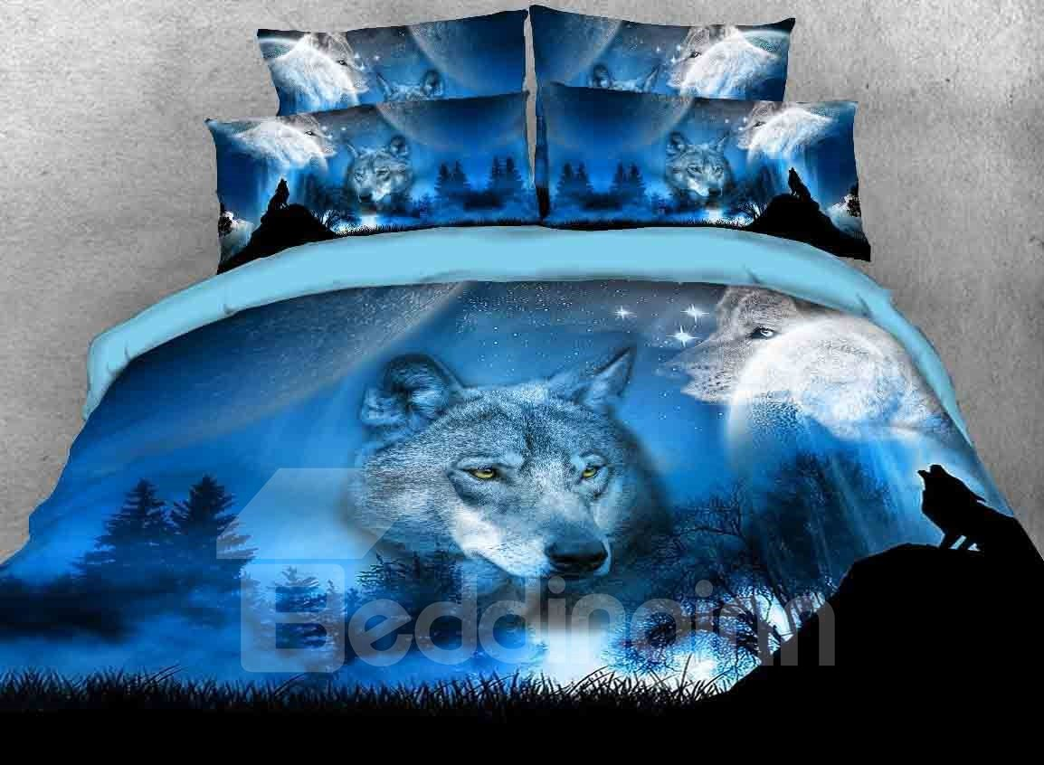 3d Wild Wolf Natural Scenery Printed 5 Piece Comforter Sets Pic