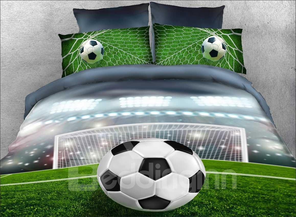 Vivilinen 3D Soccer Ball in front of Goal Printed 5-Piece Comforter Sets