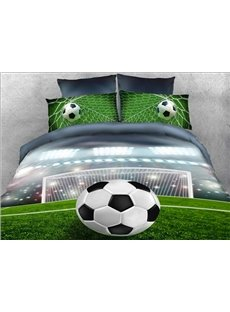 Onlwe 3D Soccer Ball in front of Goal Printed 5-Piece Comforter Sets