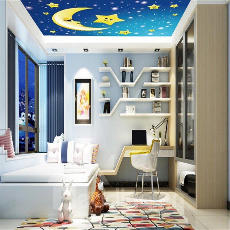 3D Moon Stars Blue Sky PVC Waterproof Sturdy Eco-friendly Self-Adhesive Ceiling Murals