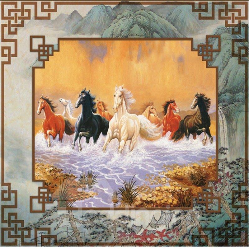 3D Running Horses Pattern PVC Waterproof Sturdy Eco-friendly Self-Adhesive Ceiling Murals
