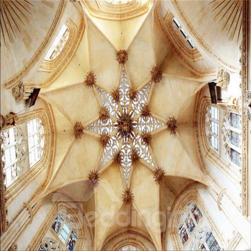 3D Beige Ceiling Pattern PVC Waterproof Sturdy Eco-friendly Self-Adhesive Ceiling Murals
