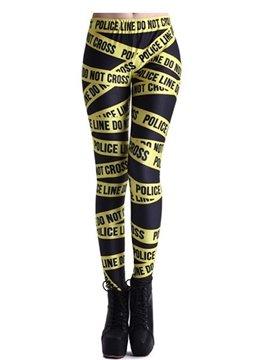 Funny 3D Women Leggings Police Seal Belt Pattern Yoga Pants Polyester