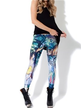 3D Women Leggings Fairy Cat Girl Pattern Yoga Pants Polyester