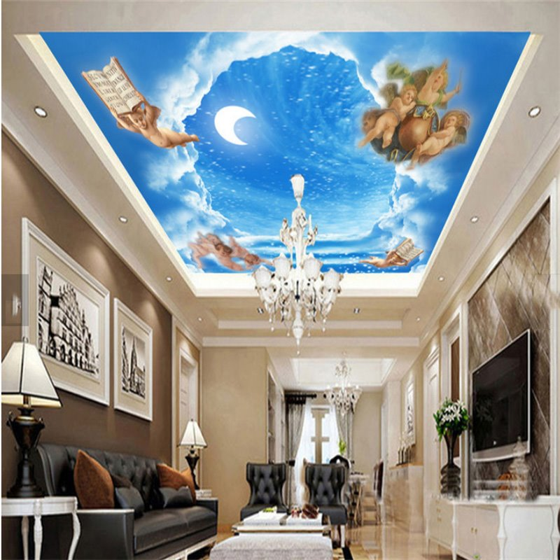 3D Blue Sky Angle Pattern PVC Waterproof Sturdy Eco-friendly Self-Adhesive Ceiling Murals