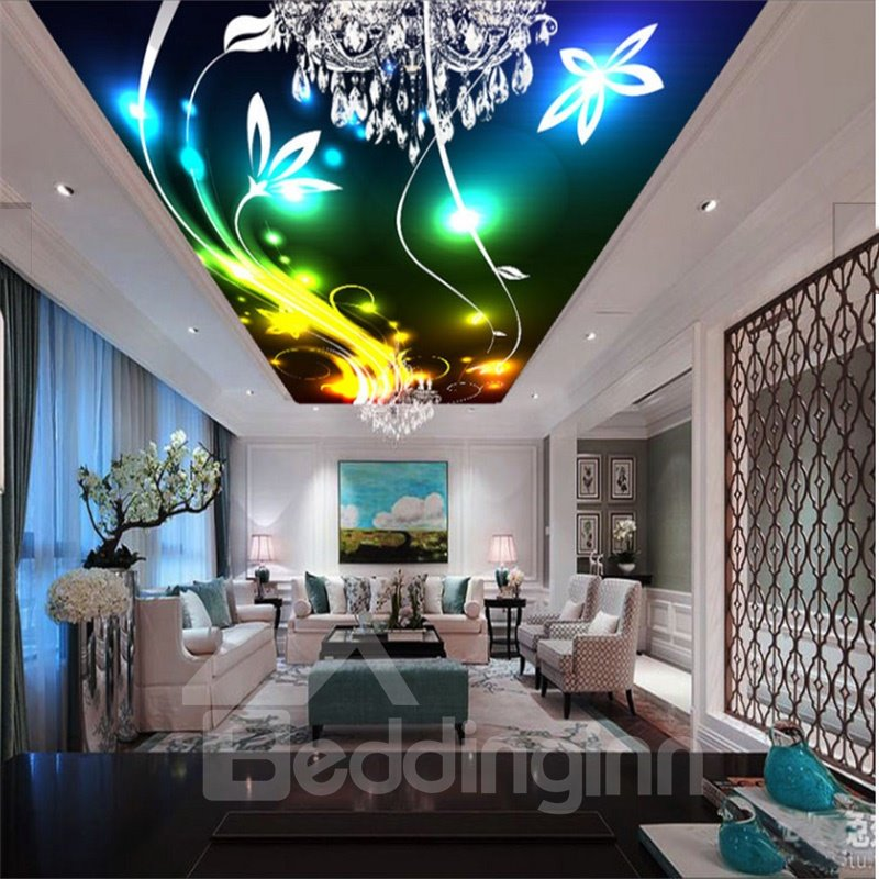 3D Bright Yellow Flowers Waterproof Sturdy Eco-friendly Ceiling Murals