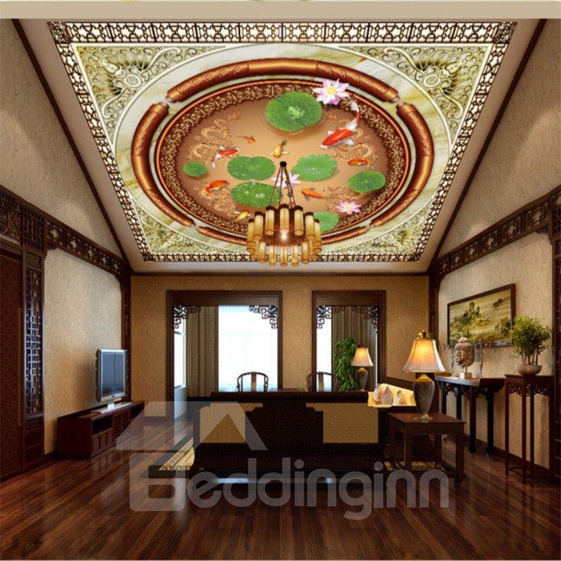 3D Goldfishes Lotus Leaves PVC Waterproof Sturdy Eco-friendly Self-Adhesive Ceiling Murals
