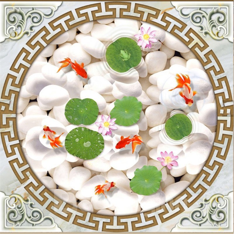 3D Goldfishes White Stones PVC Waterproof Sturdy Eco-friendly Self-Adhesive Ceiling Murals