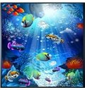 3D Colored Fishes in Blue PVC Waterproof Sturdy Eco-friendly Self-Adhesive Ceiling Murals
