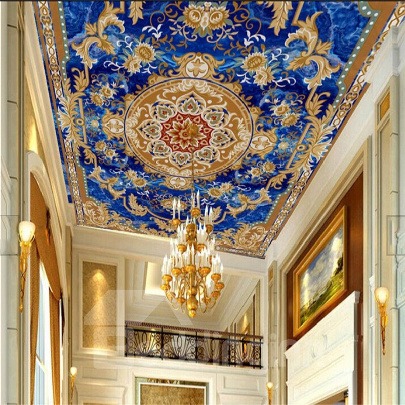 3D Golden Borders Blue Background PVC Waterproof Sturdy Eco-friendly Self-Adhesive Ceiling Murals