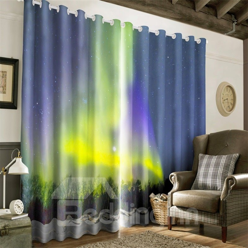 3D Wonderful Night Scenery with Bright Stars Printed Polyester Decorative Window Curtain