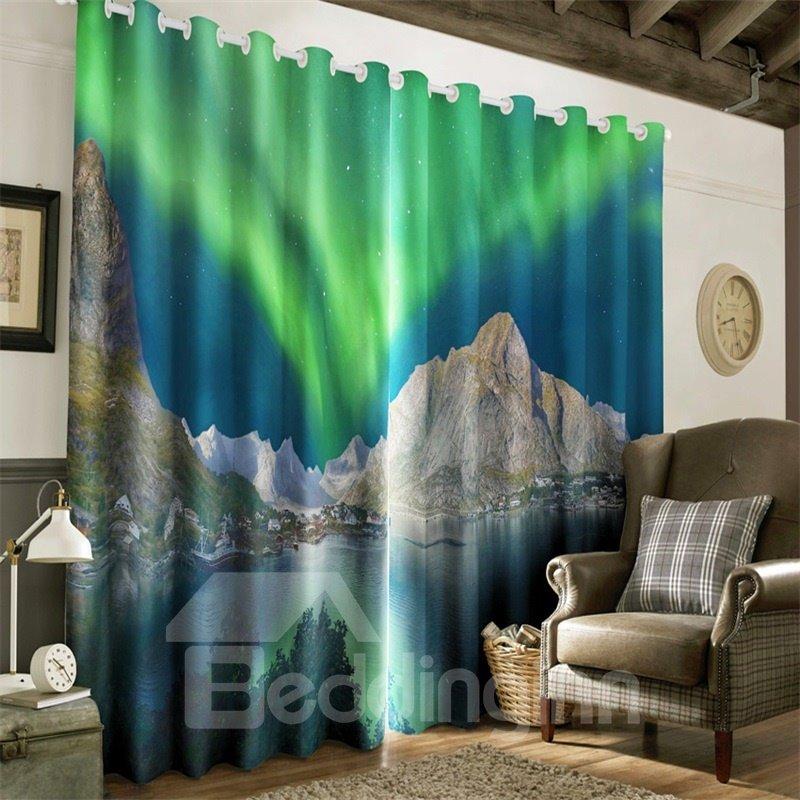 3D Bright Stars Printed Night Scenery 2 Panels Decorative Custom Window Drape