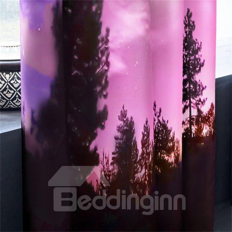 3D Bright Stars Printed Purple Natural Night Scenery Custom Living Room Curtain