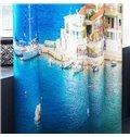 3D Blue Water and Coastal City Printed 2 Panels Custom Living Room Curtain