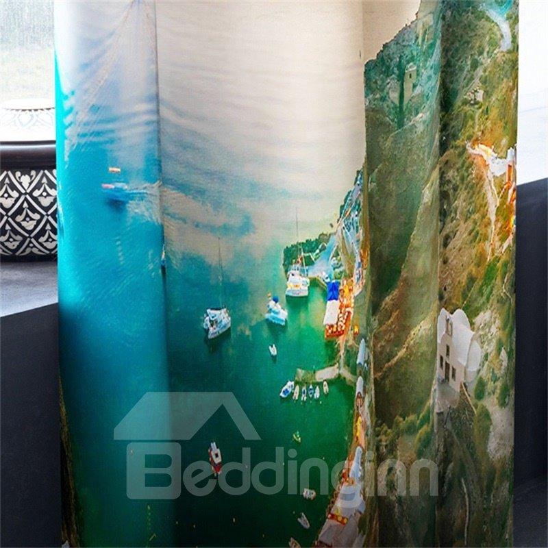 3D Wonderful Coastal City Printed 2 Panels Custom Living Room Curtain
