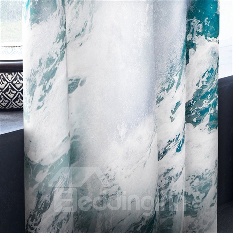 Rolling Seas Printed 2 Panels Decorative and Blackout Custom Living Room 3D Curtain