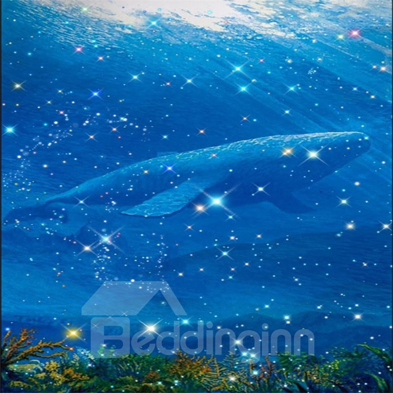 3D Whale Pattern PVC Waterproof Sturdy Eco-friendly Self-Adhesive Blue Ceiling Murals
