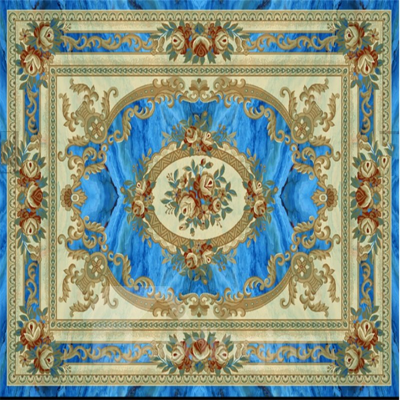 3D Blue Rug Pattern Vintage Style PVC Waterproof Sturdy Eco-friendly Self-Adhesive Ceiling Murals