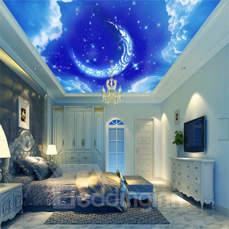 3D Blue Sky Moon Pattern PVC Waterproof Sturdy Eco-friendly Self-Adhesive Ceiling Murals