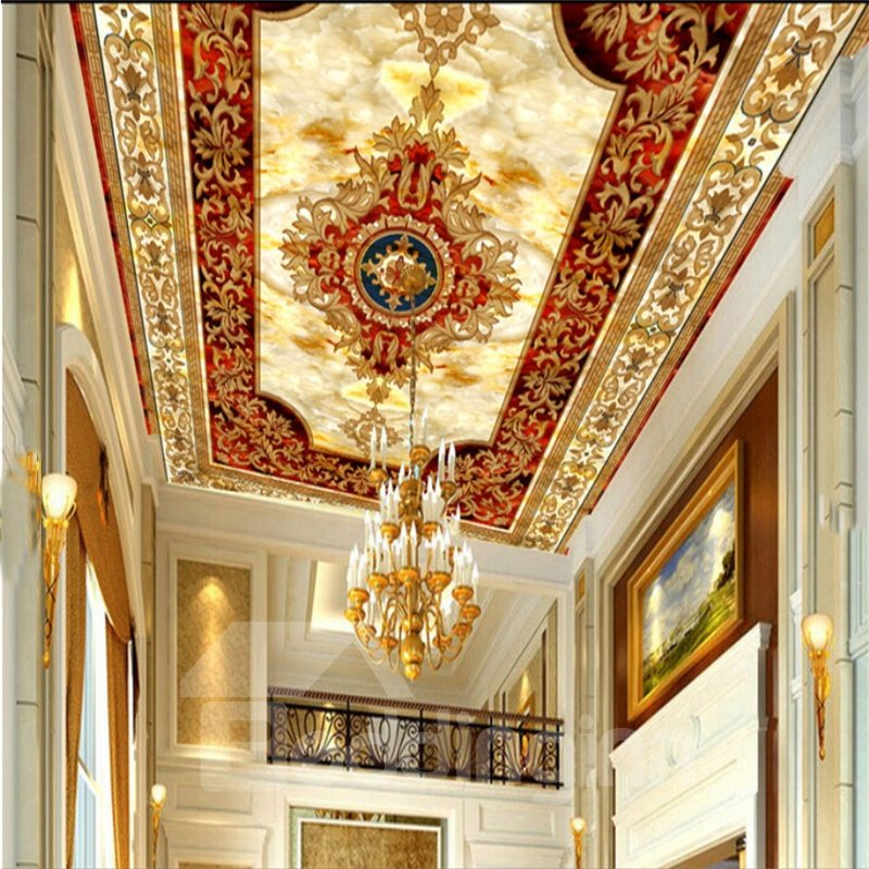 3D Red White Background Golden Borders PVC Waterproof Sturdy Eco-friendly Self-Adhesive Ceiling Murals
