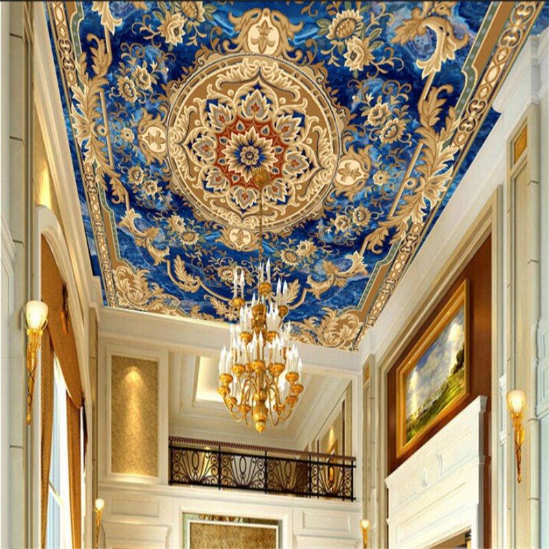 3D Blue Rug Pattern PVC Waterproof Sturdy Eco-friendly Self-Adhesive Ceiling Murals