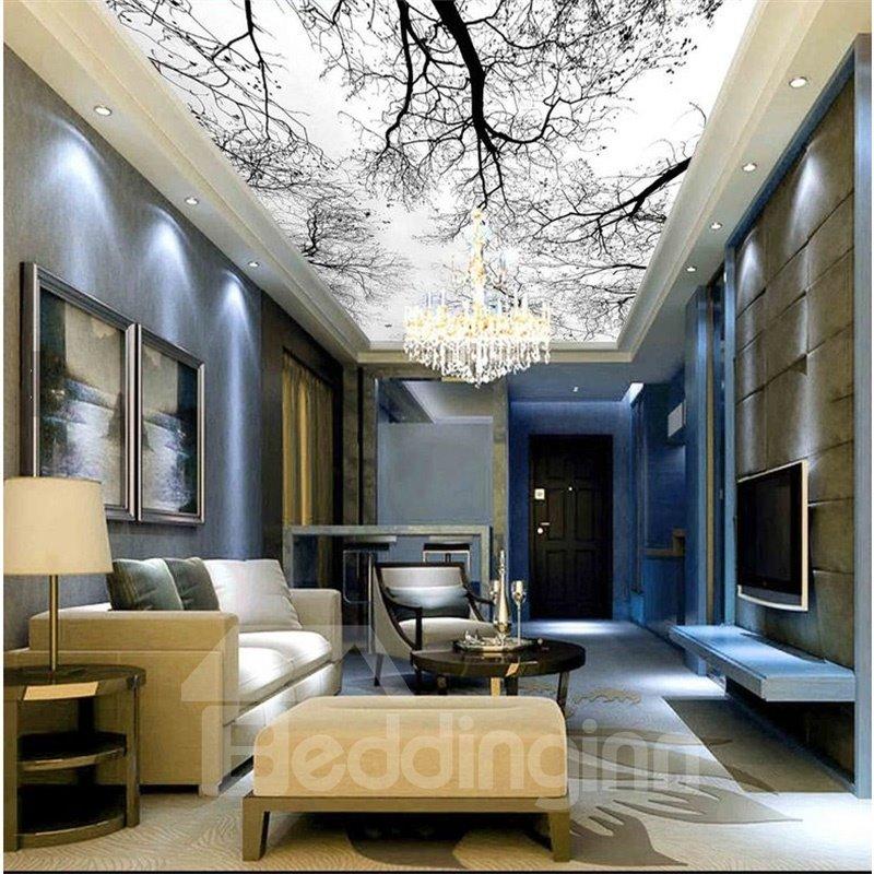 3D Tree Trunks White Sky Printed PVC Waterproof Sturdy Eco-friendly Self-Adhesive Ceiling Murals
